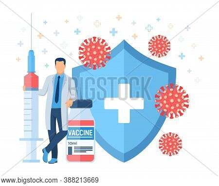 Vaccination Concept. Immunization Campaign. Vaccine Shot. Health Care And Protection. Doctor And Syr