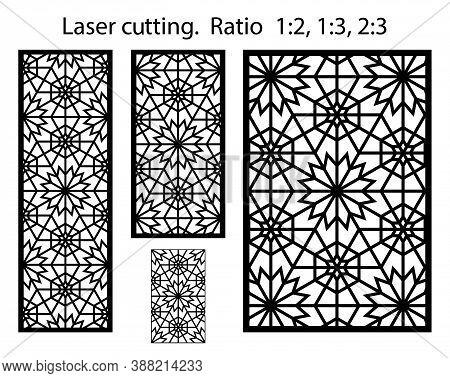 Laser Pattern. Cnc Template Set For Plasma Cutting. Set Of Geometric Decorative Vector Panels For La