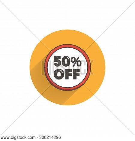 Up To 50% Off Sale Promotion Colorful Flat Icon With Long Shadow. 50 Percent Off Flat Icon. Discount