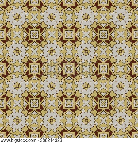 Seamless Illustrated Pattern Made Of Abstract Elements In Beige, Yellow And Shades Of Brown