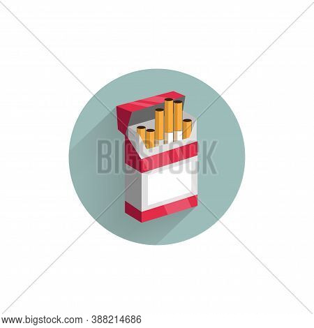 Cigarettes Pack Colorful Flat Icon With Long Shadow. Cigarettes Flat Icon