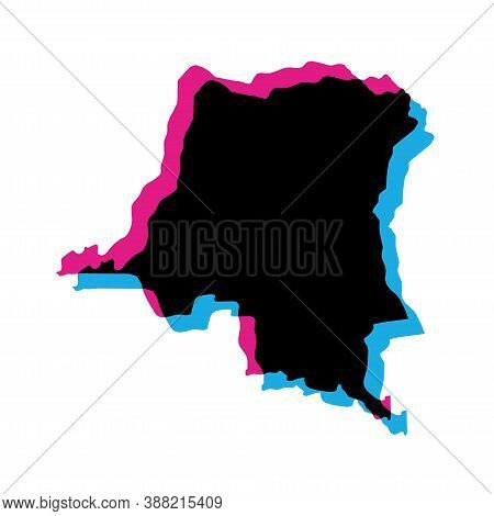 Democratic Republic Of The Congo Country Silhouette With Chromatic Aberration Effect.