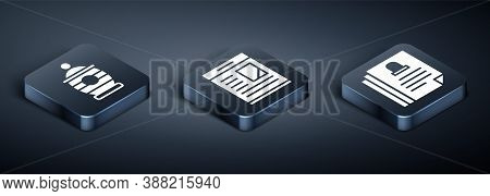 Set Isometric Funeral Urn, Death Certificate And Obituaries Icon. Vector