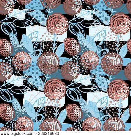 Abstract Surreal Decorative Flowers Seamless Pattern. Isolated On Black Background.