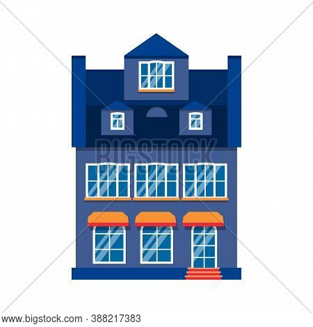 Icon Cartoon House Colorful Architecture Amsterdam. Closeup Graphic Townhouse, European Style. Singl