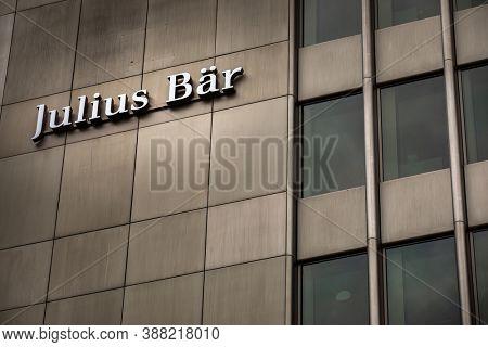 Zurich, Switzerland - June 15, 2020: Bank Julius Baer in the Swiss financial center. Julius Baer Group is a Swiss private banking group.