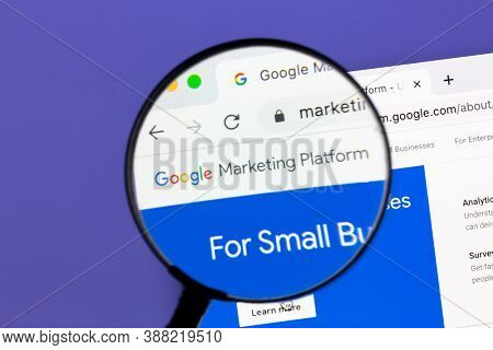 Ostersund, Sweden - October 4, 2020 Closeup of Google Marketing Platform under a magnifying glass. Google Marketing Platform is a unified advertising and analytics platform.