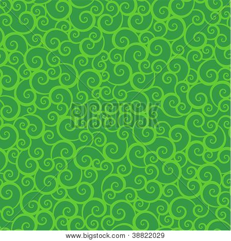 Seamless (repeatable) green swirls background (pattern, wallpaper), every swirl is easy to separate poster