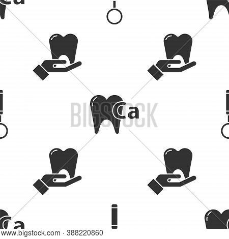 Set Dental Inspection Mirror, Calcium For Tooth And Tooth On Seamless Pattern. Vector