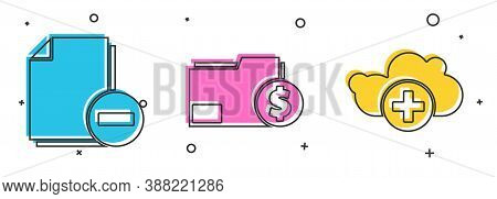 Set Document With Minus, Finance Document Folder And Add Cloud Icon. Vector