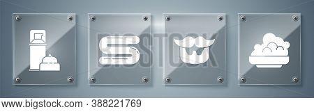 Set Shaving Gel Foam, Mustache And Beard, Towel And Shaving Gel Foam. Square Glass Panels. Vector
