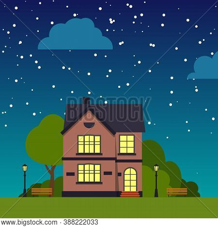 Night Street With House Closeup Trees, Bush, Clouds, Flat Cartoon Square Banner. Urban Small Town La