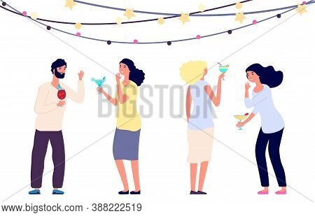 Happy Drinking People. Cocktail Party, Women And Man Laughing Isolated On White Background. People C