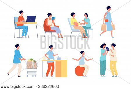 Pregnant Woman. Examination Doctor, Pregnancy Of Women Daily Life, Nutrition Diet Future Mother. Bea