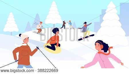 Winter Kids Vacations. Children Sled, Happy Snow Christmas Holidays Activity. Girl Boy Skiing Snowbo