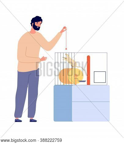 Man Plays With Rat. Pets, White Rodent In Cage. Isolated Home Animal And Owner Vector Illustration.