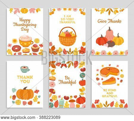 Thanksgiving Day Cards. Autumn Rustic Poster, Flyers With Flowers, Pumpkin Pie Falling Leaves. Happy