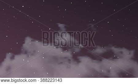 Night Sky With Clouds And Many Stars. Abstract Nature Background With Stardust In Deep Universe. Vec