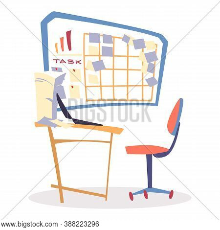 Spiny Chair By Table In Office With Laptop, Room Interior. Lot Of Paper Sheets On Wooden Desk. Task