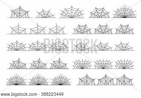Cobweb Border. Black Horror Abstract Frames, Halloween Spooky Isolated Spiderweb Dividers. Nature Go