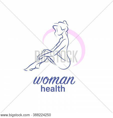 Woman Naked Silhouette Sit Drawing Isolated On White Background. Abstract Sketch Style. Woman Health