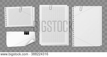Notepaper Sheets With Holder And Clip. White Empty Blank Squared Notebook Paper Sheet Set With Metal