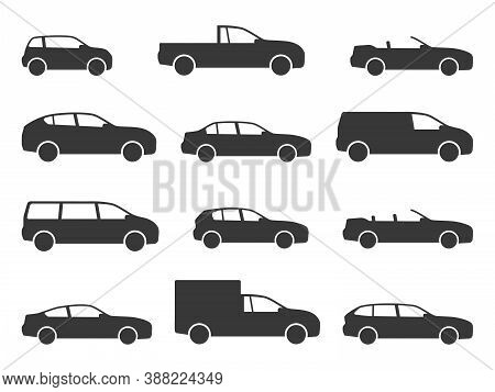Car Icons. Various Black Vehicle Side View Silhouettes, Automobiles For Travel, Models Auto Sedan An