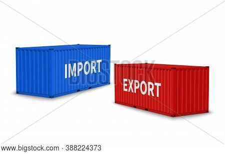 Import And Export Containers. Cargo Blue And Red Container Various Angles, Commercial Industrial Shi