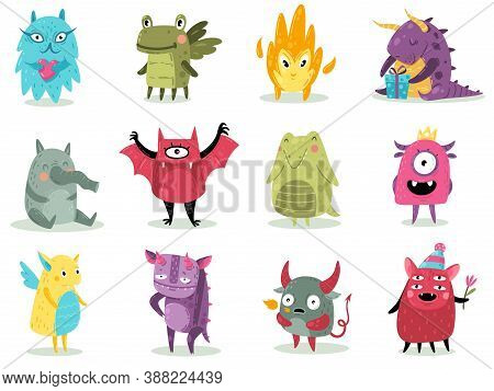 Cute Monsters. Funny Fabulous Incredible Creatures With Smiles And Goofy Faces, Cartoon Alien, Greml