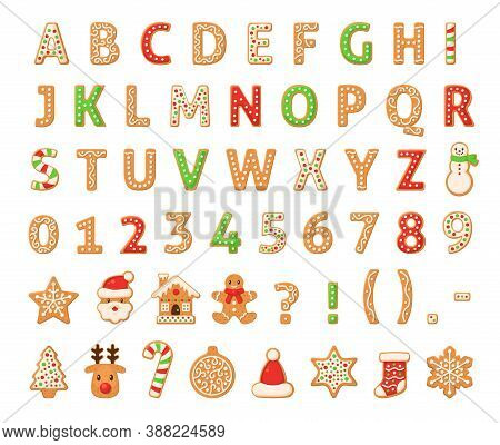 Gingerbread Alphabet. Merry Christmas And Happy New Year Figures Decorated Sugar Glazed English Lett