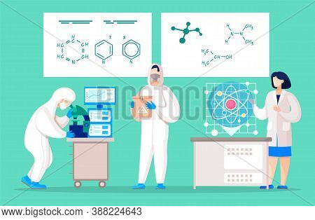 Collection Of Medical Workers Or Scientists Working On Diagnosis In Laboratory. Set Of People In Lab