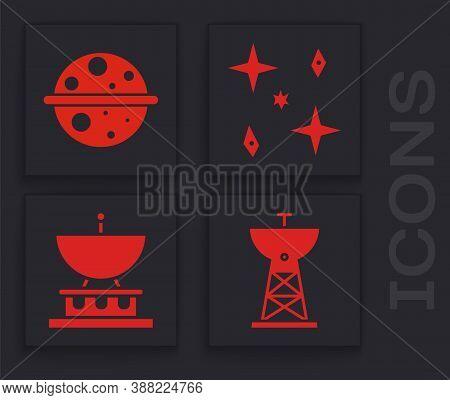 Set Satellite Dish, Planet Saturn, Falling Stars And Satellite Dish Icon. Vector