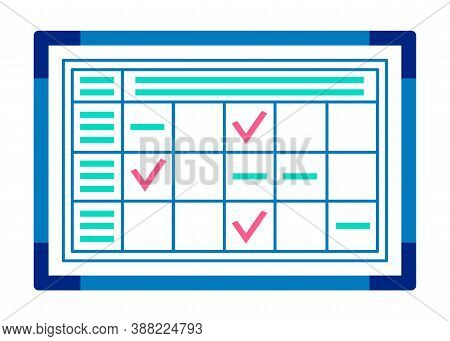 Tool For Time Optimization, Organizer To Manage Plans Vector Illustration Flat Style Design. Check M