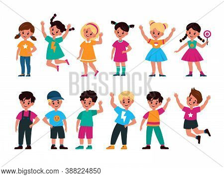 Happy Kids. Joyful Preschool Cute Children In Different Action Poses, Waving Hand, Jumping And Stand