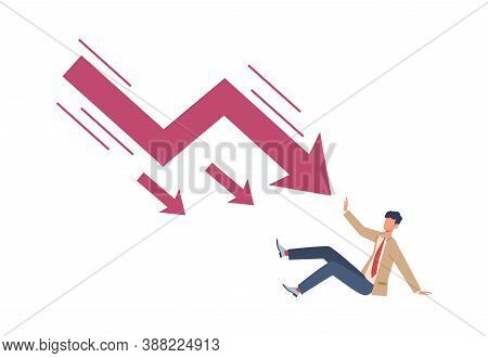 Man Try Stopping Falling Arrow. Unpaid Loan Debt Economic Crisis And Recession, Sinking Business And