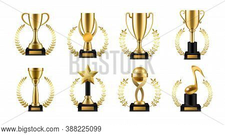 Trophy Cup With Golden Laurel. Realistic Gold Sports Or Music Winner Awards, Victory Goblet With Wre