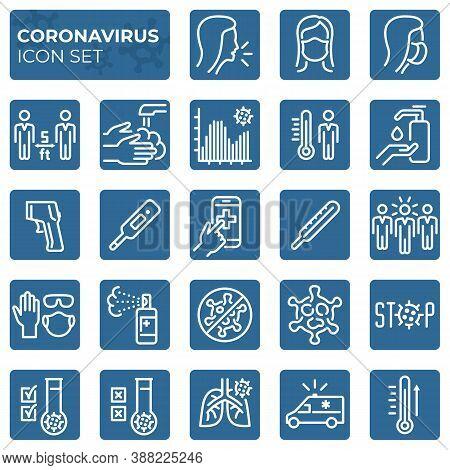 Filled Coronavirus Icons Set. Second Wave Of Coronavirus Epidemics. Covid-19 Prevention And Protecti