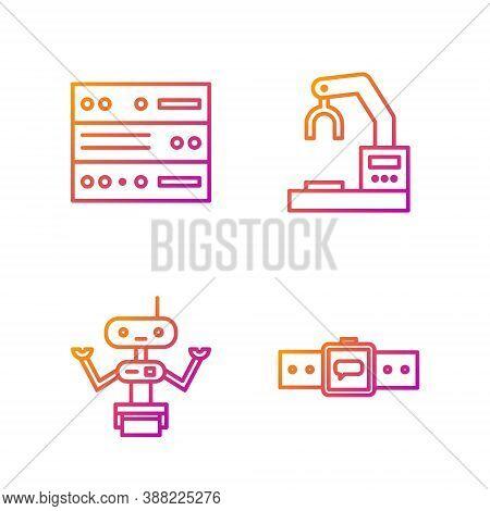 Set Line Smartwatch, Robot, Server, Data, Web Hosting And Robotic Robot Arm Hand Factory. Gradient C