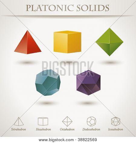 Colorido conjunto de formas geométricas, sólidos platónicos, vector illustration