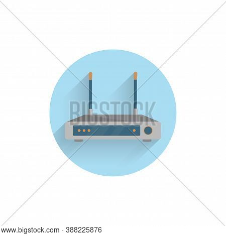 Wi-fi Router Colorful Flat Icon With Long Shadow. Wi-fi Router Flat Icon