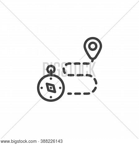 Travel Route Line Icon. Linear Style Sign For Mobile Concept And Web Design. Path Route And Compass