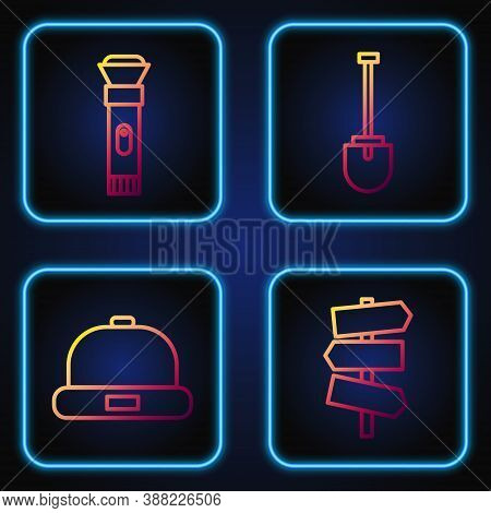 Set Line Road Traffic Signpost, Beanie Hat, Flashlight And Shovel. Gradient Color Icons. Vector