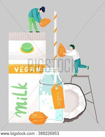 Vegan Coconut Walnut Milk. Guy And Girl Putting Nuts Into Milk. Glass Bottle With Straw And Label Ve
