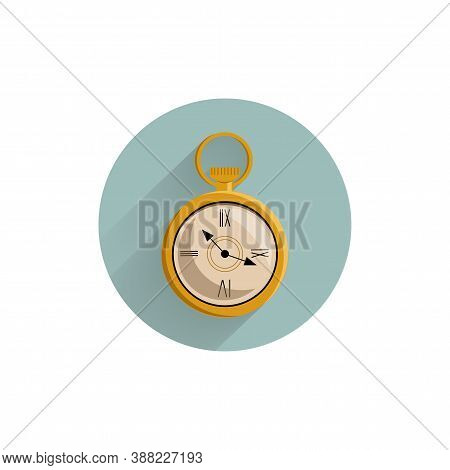 Pocket Watch Colorful Flat Icon With Long Shadow. Pocket Watch Flat Icon