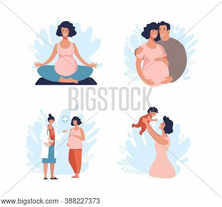 A Set Of Illustrations About Pregnancy And Motherhood. Dad And Mom With A Baby, The Child Is Growing