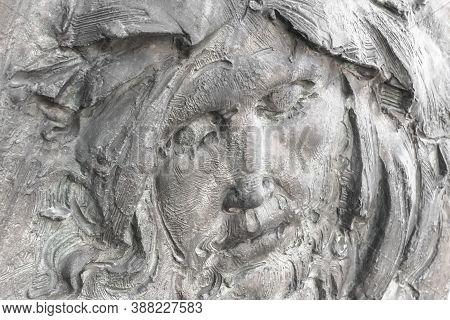 Face Of Jesus Christ (fragment Of Statue). Antique Stone Statue Of Jesus Christ.
