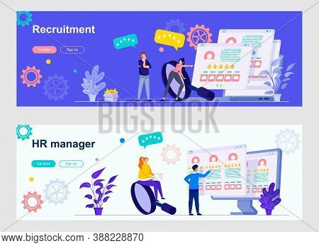 Hr Management Landing Page With People Characters. Recruitment Research, Staff Headhunting Web Banne