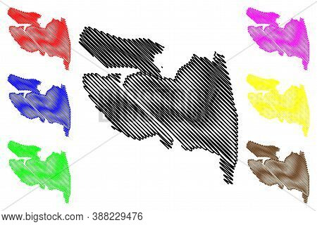 La Vega City (dominican Republic, Hispaniola Island) Map Vector Illustration, Scribble Sketch City O