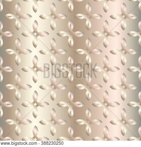 Metal Gradient Flower Pattern. Abstract Modern Vector Background. Shiny Metallic Wallpaper.