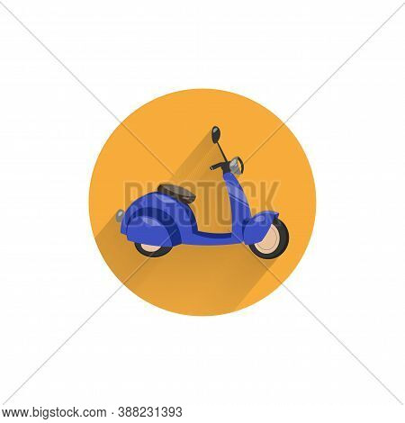 Scooter Motorbike Colorful Flat Icon With Long Shadow. Scooter Flat Icon